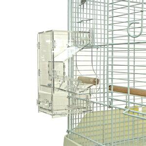 小鳥用外付けフィーダー M/小鳥の自動給餌器 フードフィーダー 食器 エサ入れ オカメ ボタン コザクラ 中型インコ NPF