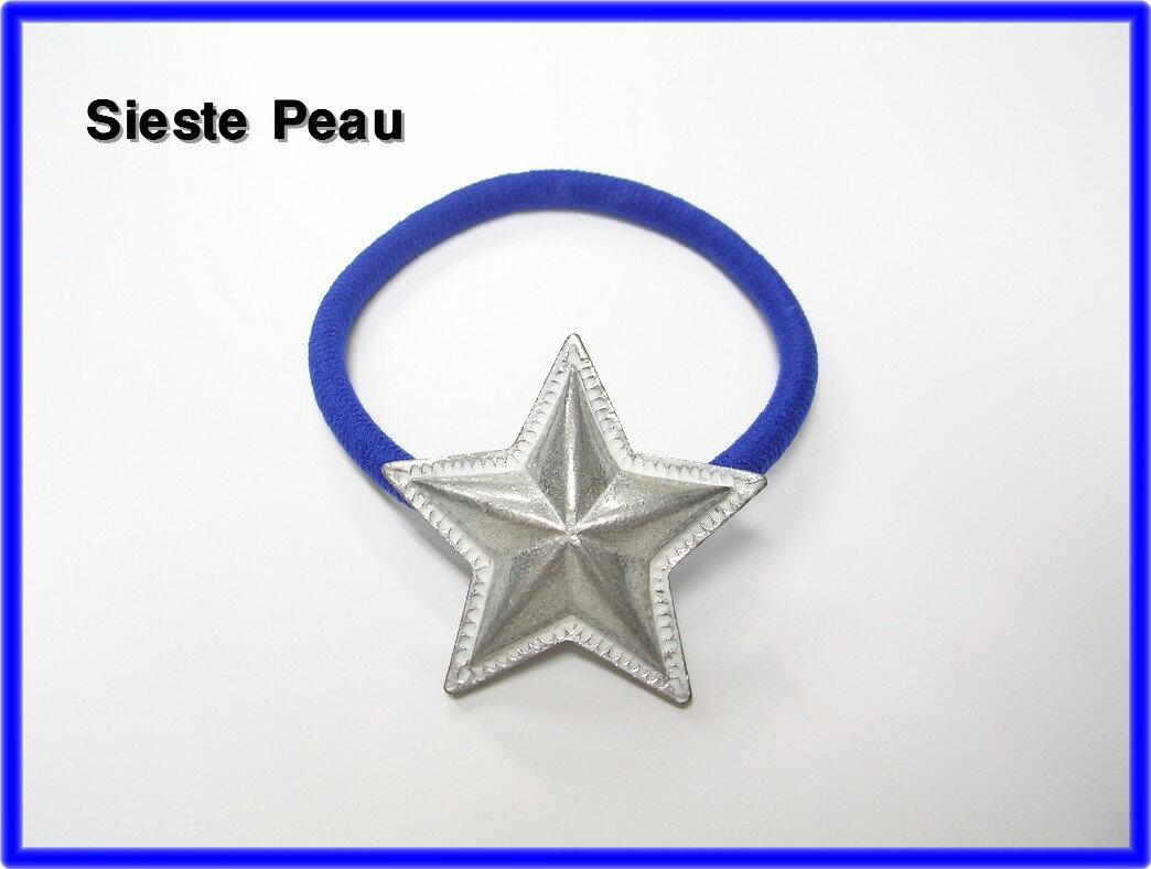 人気 ブルー BLUE 【Sieste Peau [シエスタポー] STAR CONCHO HAIR ELASTIC スターコンチョヘアゴム ブレス】Ron Herman ロンハーマン取扱い