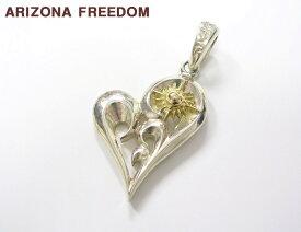 【ARIZONA FREEDOM TOP アリゾナフリーダム K18中太陽神付抜き唐草ハートトップ ネックレス ペンダントトップ シルバー SV925 x ゴールド K18】