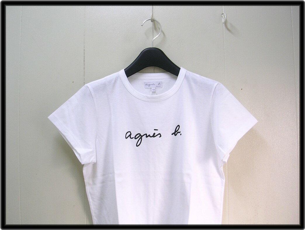1番人気 3 レディース 白 White【agnes b. FEMME LOGO TEE アニエスベー ロゴ Tシャツ】