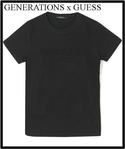 レディース S 黒【GENERATIONS x GUESS EMBOSS LOGO S/S TEE ジェネレーションズ ゲス エンボス ロゴ Tシャツ ブラック】