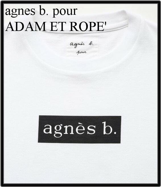 M 白 White【agnes b. pour ADAM ET ROPE' BOX LOGO T-shirts アニエスベー アダムエロペ ボックスロゴTシャツ 正規品】
