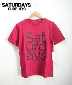 S RED【SATURDAYS SURF SANS TYPE STACK T-SHIRT サタデーズサーフ サンズタイプ Tシャツ # :274 SANSTYP-02 赤 レッド】