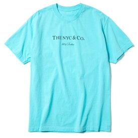 XL Aqua【68&brothers Print Tee 'The NYC & Co' シックスティエイトアンドブラザーズ Tシャツ アクア サックスブルー ティファニーカラー X-LARGE】