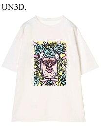 44 白【UN3D. くっきーART T アンスリード くっきー アート Tシャツ WHITE 男女兼用 ユニセックス 野生爆弾】