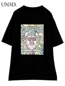 38 黒【UN3D. くっきーART T アンスリード くっきー アート Tシャツ BLACK 男女兼用 ユニセックス 野生爆弾】