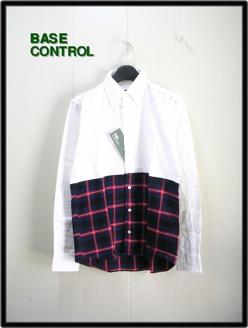 S 【BASECONTROL ベースコントロール bi color nel shirt B.D チェックシャツ】【新品】