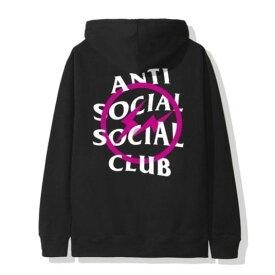 L Black/Pink【Fragment Design x ANTI SOCIAL SOCIAL CLUB Bolt Hoodie フラグメントデザイン x アンチ ソーシャル ソーシャル クラブ ピンク ボルト フーディー パーカー ブラック/ピンク 2019AW 正規品】
