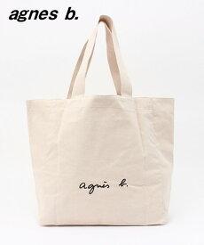 人気 アイボリー【agnes b. LOGO TOTE BAG アニエスベー トートバッグ ロゴバック 日本国内正規品】