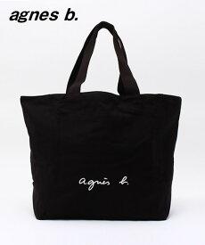 1番人気 BLACK 黒【agnes b. LOGO TOTE BAG アニエスベー トートバッグ ロゴバック カバン 日本国内正規品】