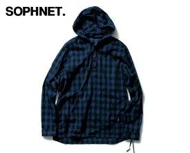 L 【SOPHNET.BLOCK CHECK PULL OVER HOODED SHIRT ソフネット ブロックチェック プルオーバー フードシャツ】SOPH-160054