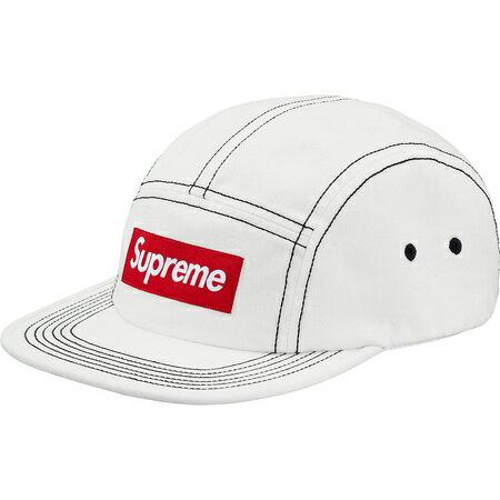 White【Supreme Contrast Stitch Camp Cap シュプリーム コントラスト ステッチ キャンプキャップ BOX LOGO ボックスロゴ 2018ss 白 ホワイト】
