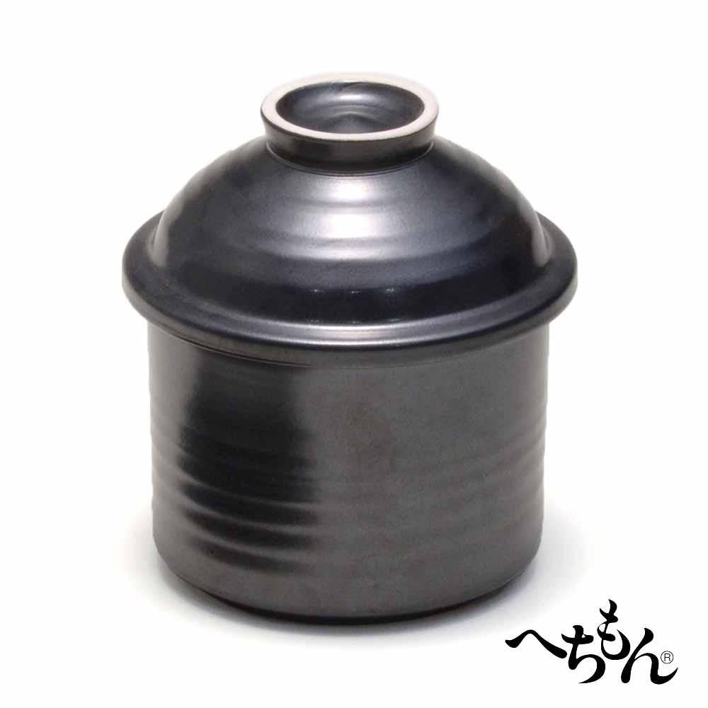 【送料無料】【信楽焼】へちもん なるほど鉢 黒 (蓋付)