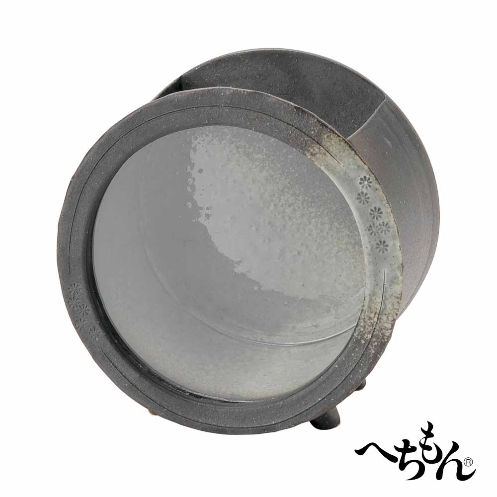 【送料無料】【信楽焼】へちもん 陶製金魚箱・丸型 (エアポンプセット・陶ころ付)