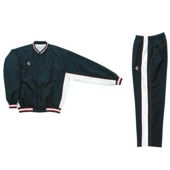 コンバース ウォームアップジャケット&ウォームアップパンツセット ブラック×ホワイト CB14112S-1911 & CB14112P-1911 ネーム刺繍無料 送料無料