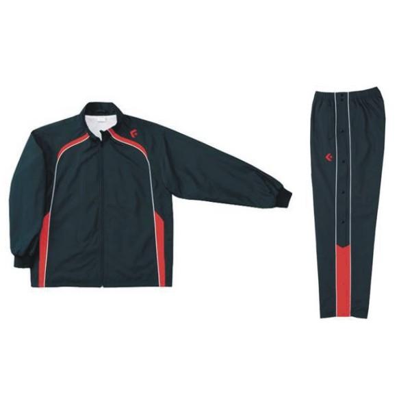 コンバース ウォームアップジャケット&ウォームアップパンツセット ブラック×レッド CB162501S-1964 & CB162501P-1964 ネーム刺繍無料