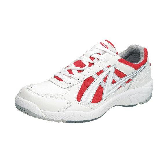 アサヒ グリッパー38 ホワイト/レッド KD78773 スクール グランド 運動靴 通学シューズ 中学校 高校