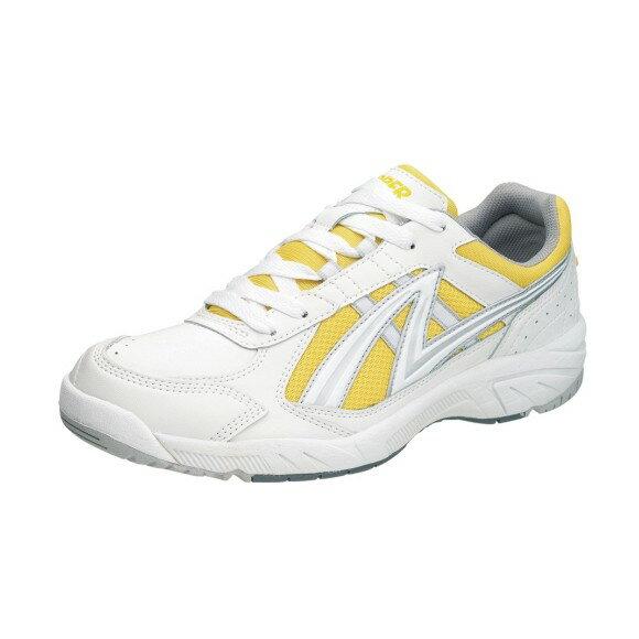 アサヒ グリッパー38 ホワイト/イエロー KD78774 スクール グランド 運動靴 通学シューズ 中学校 高校