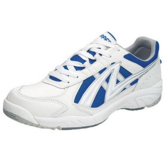 アサヒ グリッパー38 ホワイト/ブルー KD78776 スクール グランド 運動靴 通学シューズ 中学校 高校
