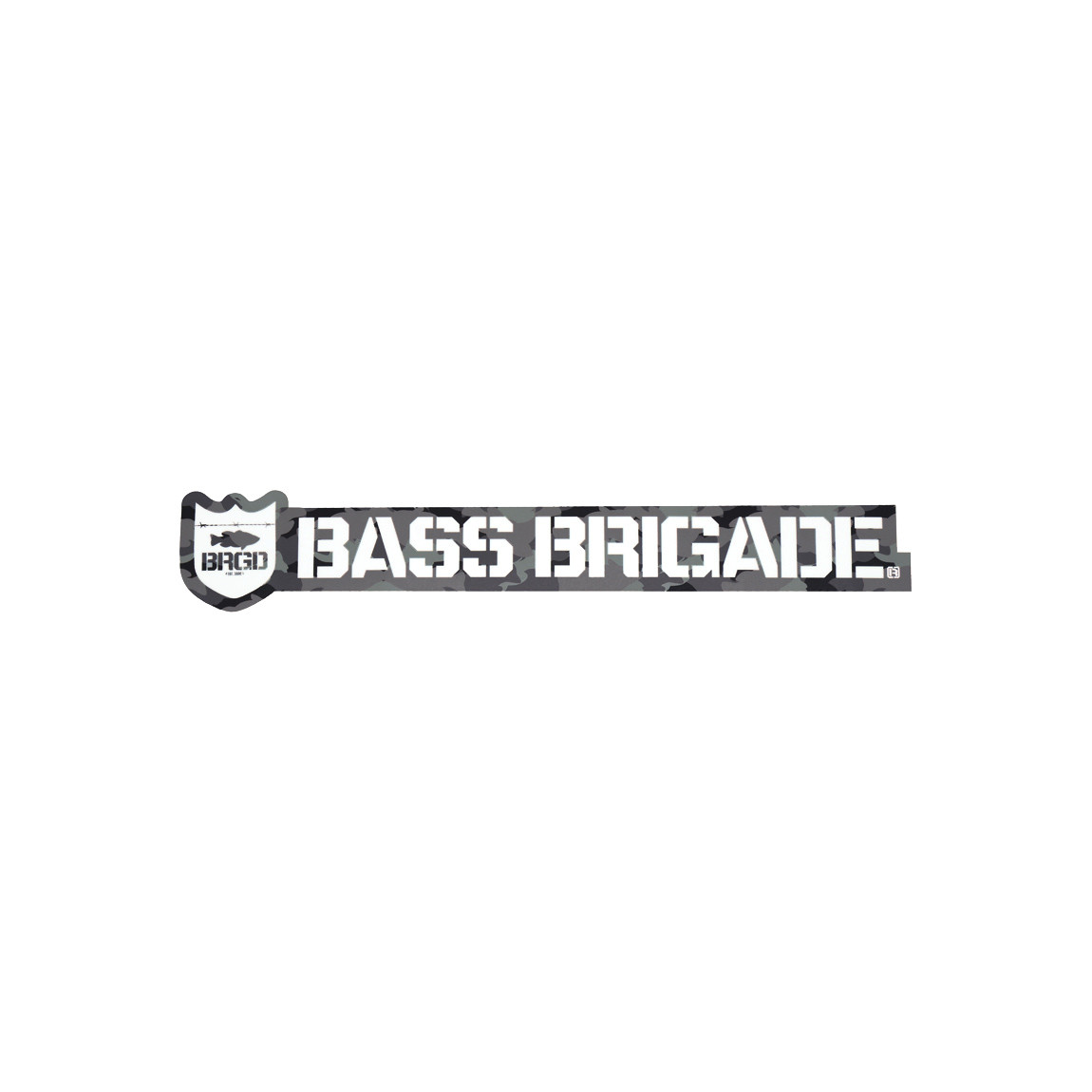 [Bass Brigade/バスブリゲード] SHIELD AND WORDMARK STICKER 【5インチ】 - Carbon Camo (code:BRD124)