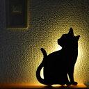 【送料無料】 キャットウォールライト 感知式 LEDライト 猫 フットライト 雑貨 インテリア ネコ ねこ 人感センサー 電池式