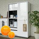 鏡面 白い食器棚が主婦に人気です!【鏡面 キッチン収納 キッチンボード】国産 完成品 キッチン収納 キッチンボード 【食器棚】 …
