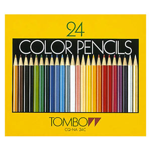 【メール便対応/1個まで】トンボ鉛筆 色鉛筆 紙箱 24色 CQ-NA24C
