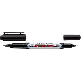 【メール便対応】三菱鉛筆 なまえペン パワフルネーム(油性顔料) 細字丸芯+極細 PNA-155T 1P.24 黒