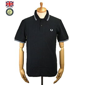 Fred Perry フレッド・ペリー M12 Men's Twin Tipped Fred Perry Polo Shirt 795 Navy/Ice/Ice メンズ ツイン ティップ フレッドペリー ポロシャツ 半袖ポロシャツ 英国製 2019年 春夏入荷商品