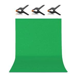 送料無料 Hemmotop 背景布 緑 グリーンバック zoom用 強力クリップ 3点付き 1.5m x 2.0m クロマキー グリーンスクリーン 袋縫い ボール対応 Green Screen スタジオ バックペーパー 撮影用 背景 グリーン