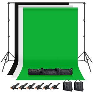 送料無料 Hemmotop 写真撮影用 背景スタンド 200x300cm 布 黒 白 緑 + サンドバッグ 二つ + 強力クリップ 6個 付き スタジオ撮影機材 バックグラウンドサポート 背景布/背景紙に適用 組み立ては簡単