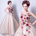 【送料無料】カラードレス 2点セット パニエ付き ウエディングドレス ロングドレス パーティードレス 豪華 花嫁 礼服 …