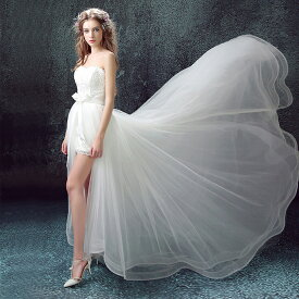 ウエディングドレス 2点セット ウェディングドレストレーン付き レース ウェディングドレス 花嫁ドレス ミニ丈 ウェディング ドレス 礼服 結婚式 披露宴 ニ次会 前に短くトレーン 162502