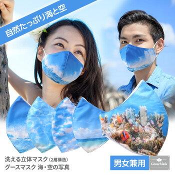 デザインマスク海・空の写真(洗える2層立体構造)グースマスク2