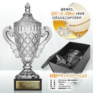 クリスタルトロフィービールジョッキMサイズ(優勝カップ)プレート名入れ無料2