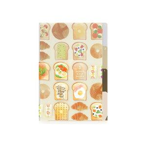 【メール便対応可 140円〜】ミドリ デザインフィル A6サイズ3ポケットクリアホルダー トースト柄【ファイル 収納 おしゃれ 可愛い】