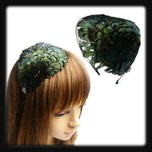 羽ファー☆フェザー帽子☆ヘアバンド☆おしゃれ【カチューシャ】グリーン/緑