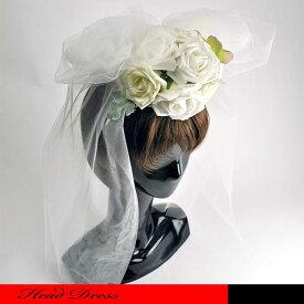 キュートなホワイトローズのベール付きヘッドドレスです。☆ウェディングハット/ローズ/ドレスハット/欧風/カクテルハット/ベール/