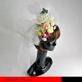 キュートなホワイトローズとピンクローズノブーケ付きのヘッドドレスです。☆ウェディングハット/ローズ/ドレスハット/欧風/カクテルハット/ベール/