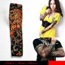タトゥー柄がプリントされた御洒落なアームカバーです。密林の花とタイガーのTATOO SLEEVE.。タイガーデザインは強さの強調です。【メール便可1】☆タトゥー...