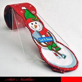 立体裁断の豪華なスノーマンのデザインネクタイです。Let It Snowの立札を持っている。☆スノーマンネクタイ/クリスマスネクタイ/ジョークネクタイ/パロディーネクタイ/面白ネクタイ/