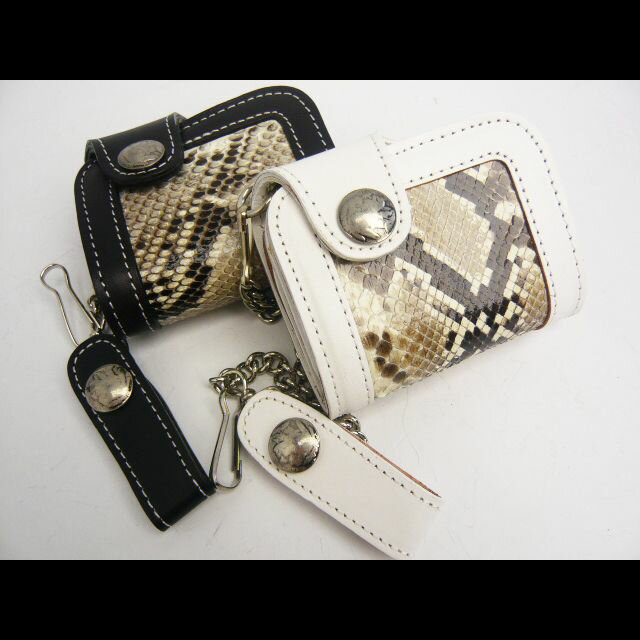【パイソン】二つ折財布【牛革】