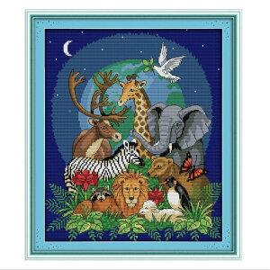 刺繍キット クロスステッチ キット 動物園 花 草 北欧 図案印刷 図案 簡単 おしゃれ 刺しゅうキット ししゅうキット 壁アート 壁装飾 飾り 指ぬき 糸通し付き cxy86-ss