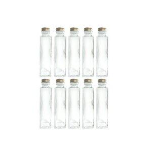 ハーバリウム キット ハーバリウム瓶 ガラス ボトル 四角 150ml ボトル 10本 セット 瓶