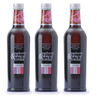 Thorncroft herb cordial Cranberry & hibiscus 375ml×3 set