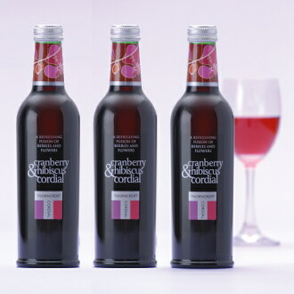 Thorncroft herb cordial Cranberry & hibiscus 375ml×3 set