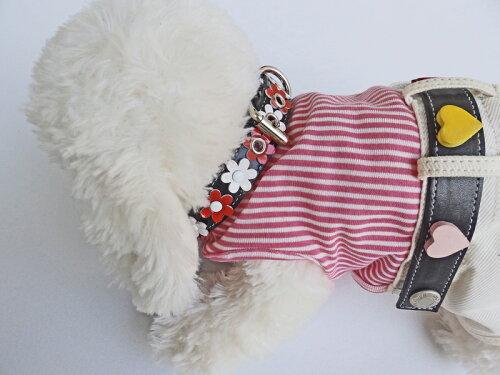ギフトクリアケース入り/牛革/中型犬用お花の首飾り