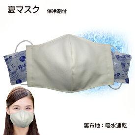 吸水速乾 日本製 保冷剤2個付き熱中症対策 洗えるマスク 手作り立体マスク 保冷剤 ポケット裏地 吸水速乾素材夏マスク ホワイト 白定形外郵便限定 送料無料