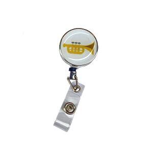 定形外郵便限定 送料無料伸縮自在のリール クリップ付きパスケースや名札、ストラップ、鍵等と一緒にぷっくりシール 楽器 トランペット