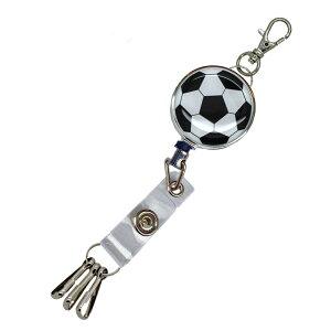 定形外郵便限定 送料無料伸縮自在のリール ストラップ キーホルダー 3連フック付きパスケースや名札、ストラップ、鍵等と一緒にサッカーボール